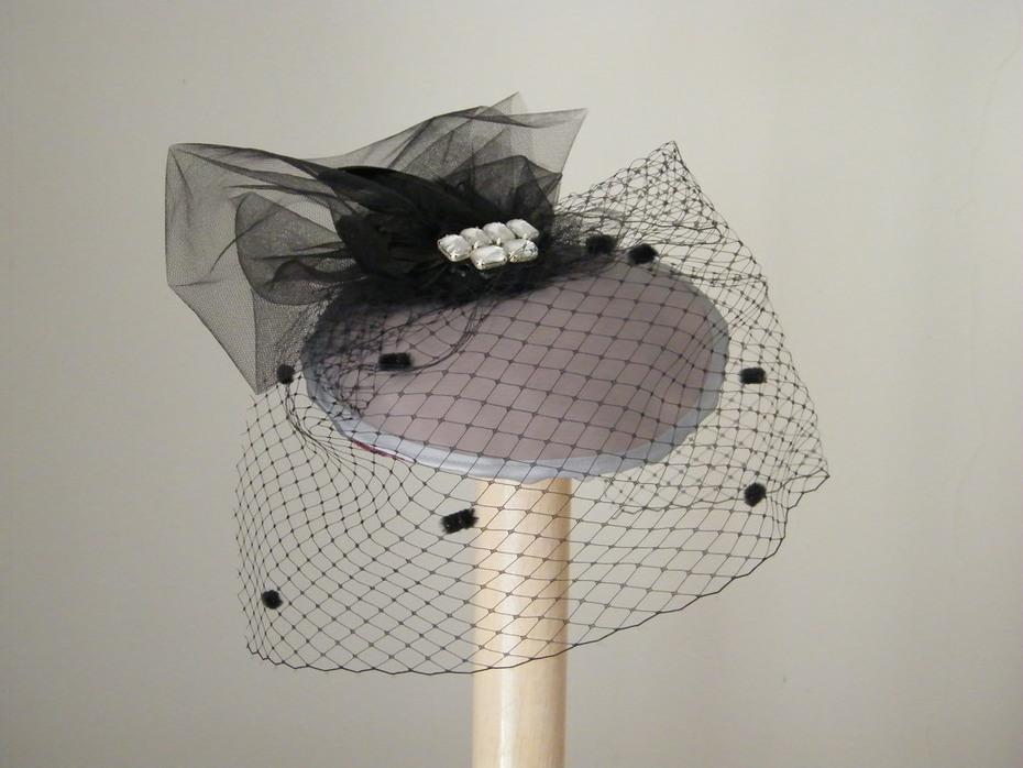 grey satin cocktail hat