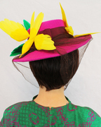 1940s-Style Wide Brim Felt Hat with Faux Birds