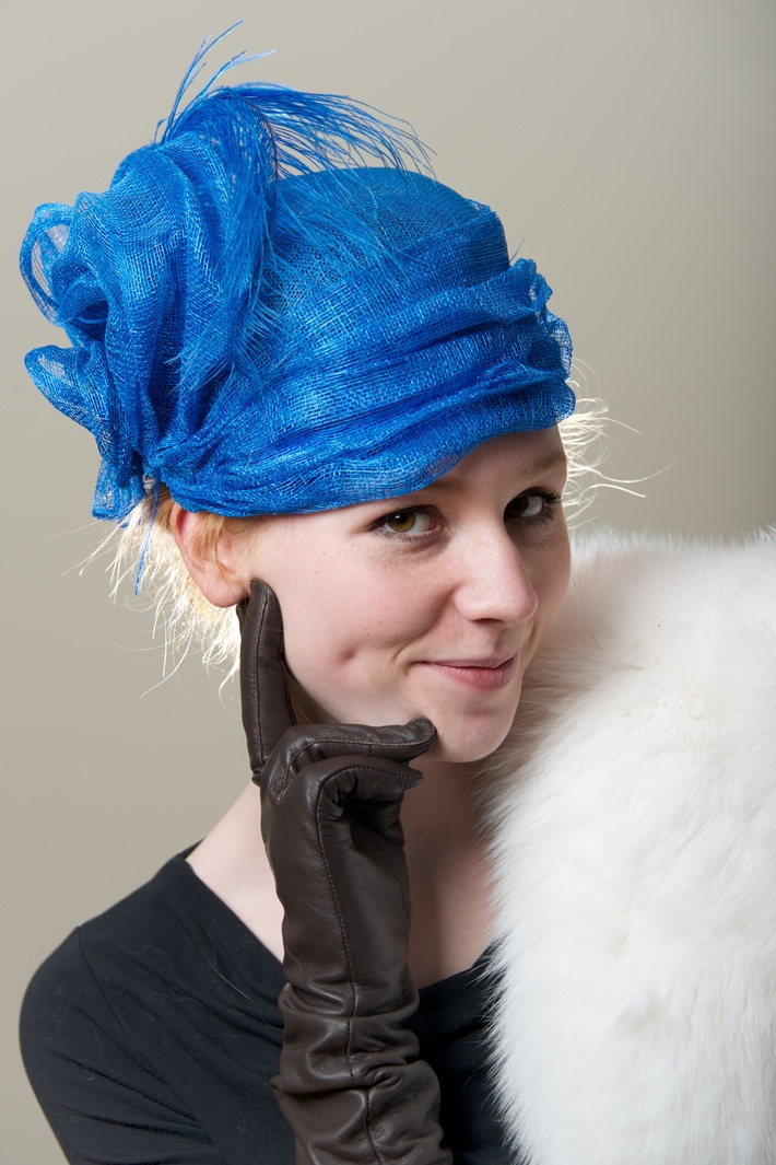 Royal Blue Cocktail Hat Turban Women Special Occasion Hat