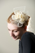 Cream ivory Hat Fascinator Headpiece Hand Blocked Millinery