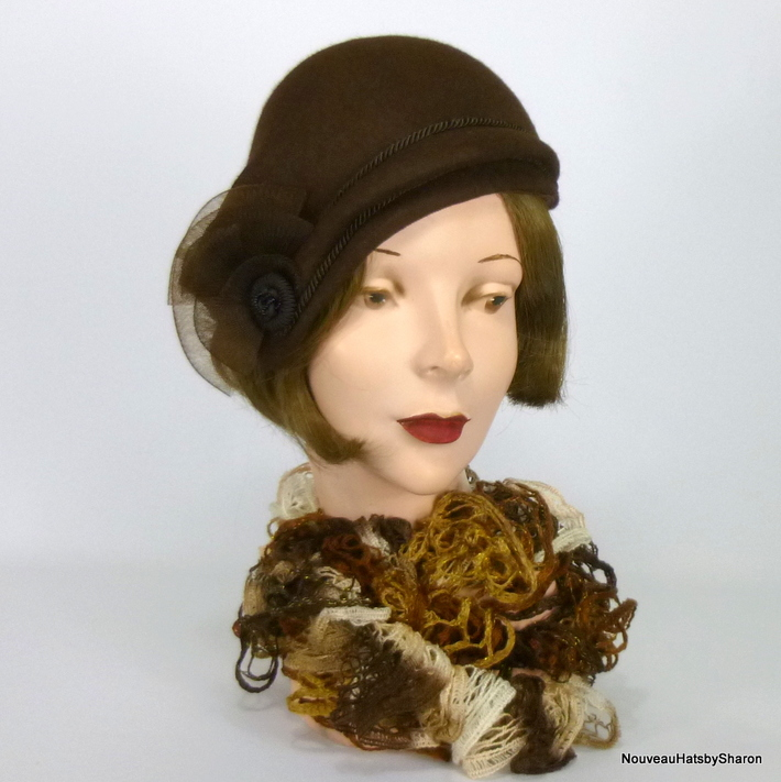 Dark brown felt cloche with vintage buttons, crin, and cording