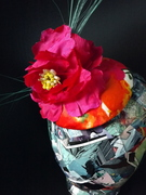 Hand tool silk flower cocktail hat