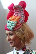 Amanda Macor Oaks Day winning outfit and headwear