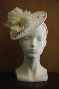 natural white embroidered tulle fascinator