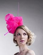 neon_pink_straw_derby_hats_fascinator