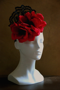 Flamenco, Carmen felt fascinator with lace and red flowers