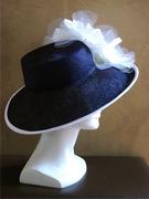 dark blue parasisal straw derby hat for women
