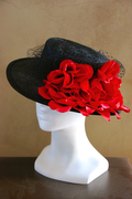 black parasisal straw flamenco hat with red flowers and veiling