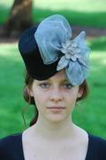 black wool-felt fascinator hat for women with metal mesh