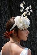 white bridal blossom fascinator hat for women