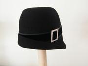 felt hat with velvet and diamante buckle