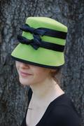 a little Audrey Hepburn?! - lime green cloche hat for women