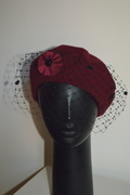 Beret with veiling and ribbon brooche by Anastasia Frei