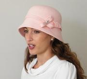 Pink 20s felt cloche