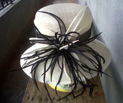 White with stripe black - front
