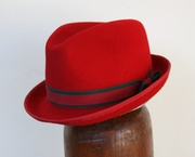Fedora Women Red Trilby Millinery
