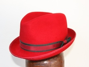 Red Fedora Trilby Women Hat Millinery