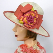 White and Dusty Rose Straw Hat