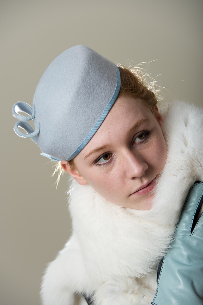 Blue Beret Percher, Hat Women Millinery Sky Blue