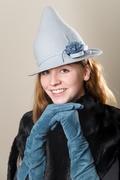 Blue Elf Fleur Fur Felt Witch Hat Millinery Halloween Costume Hand Blocked Hand Draped OOAK