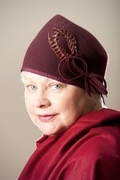 Marsala 30s Hat Turban Pixie Women Millinery , Bespoke Hand blocked , Women Felt Fez, Draped OOAK