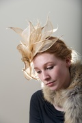 Cream ivory gold Hat Fascinator Headpiece Hand Blocked Luxury Millinery Women Bridal Wedding