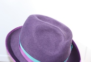 Purple Trilby Brimmed Hat Deco Fur Felt Wide Brim Hand Blocked Luxury