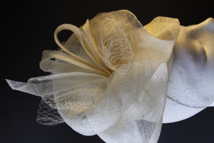 Ivory Fascinator Sinamay Wedding Hat Millinery