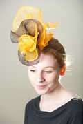 Chocolate Marigold Fascinator, Percher Millinery