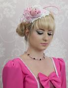 Pink Silk Teddy bear on Headband