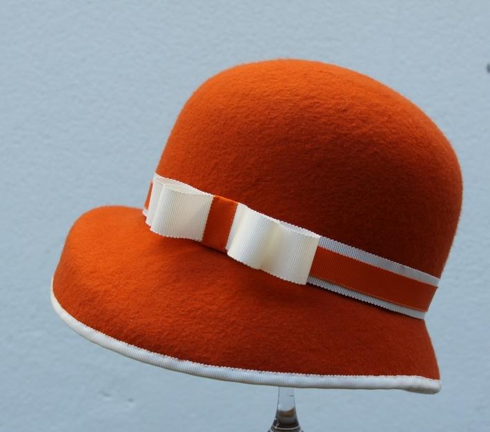 Women Cloche Tangerine White wool Felt Millinery