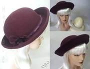 hatpiece-Burgandy-felt-Bretton-hat