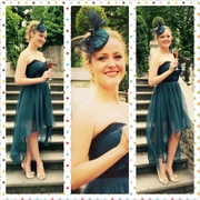 Cocktail button fascinator custom made to match the dress from fabric left overs