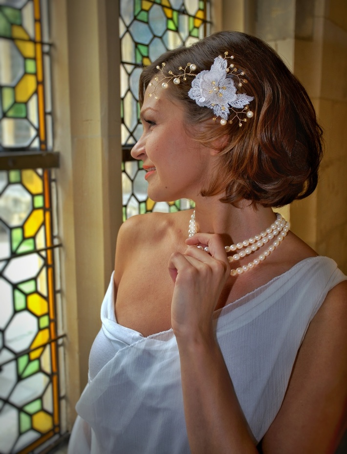 AgAtelier Bridal Collection Gold Crystals and Pearls with Lace Flowers