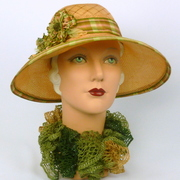 Light Peach Straw 1920s Style Hat