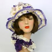 Purple & White Straw Hat - Hand blocked Vintage 1960s Straw Hood
