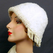 All White Cloche Hat - Hand Beaded - 1920s 1930s Style