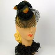 Black Crin and Velvet Fascinator Hat