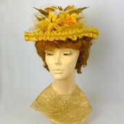 Reproduction Victorian Straw Boater Style Hat in Yellows -1800s - 1900s