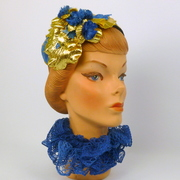 Retro Style Blue & Gold Cocktail Hat - French Designer Lace