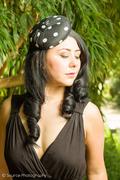 Black-White Silk Polka Dot Button Hat