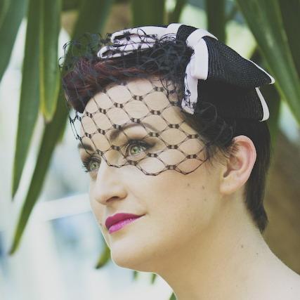 Black & Pink Straw Bow with Birdcage Veil