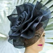 Black Sinamay Ruffle Hat