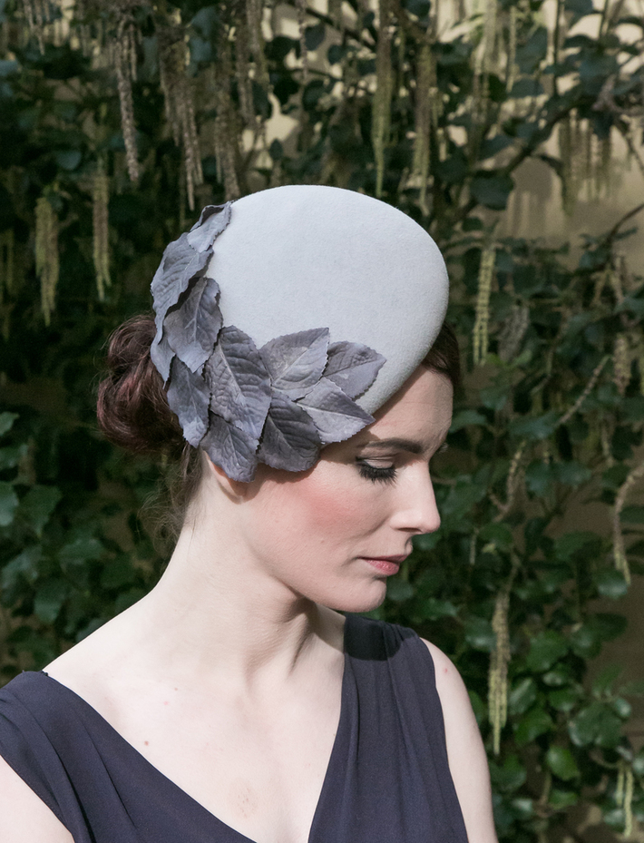 Grey Velour Felt Hat with Leaves