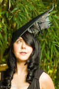 Black Sinamay Hat with Grey Lilies and Feathers