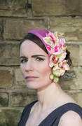 Pink Silk Half Hat with Vintage Velvet leaves and Orchids