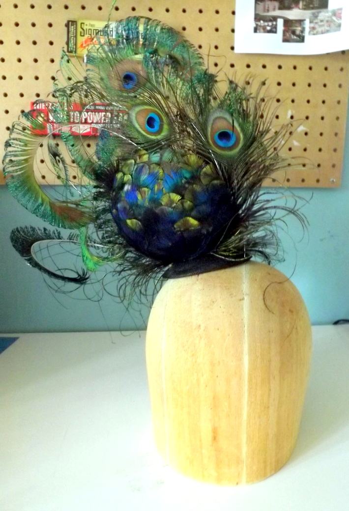 Peacock Sinamay Cocktail Hat