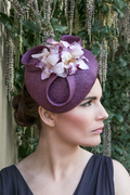 Purple Straw Hat with Vintage Stle Velvet Orchids