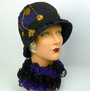 Reproduction 1920s Style Cloche Hat- Black,Purple, & Metallic Gold