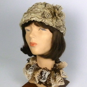 Beige and Brown Chenille Cloche Style Hat
